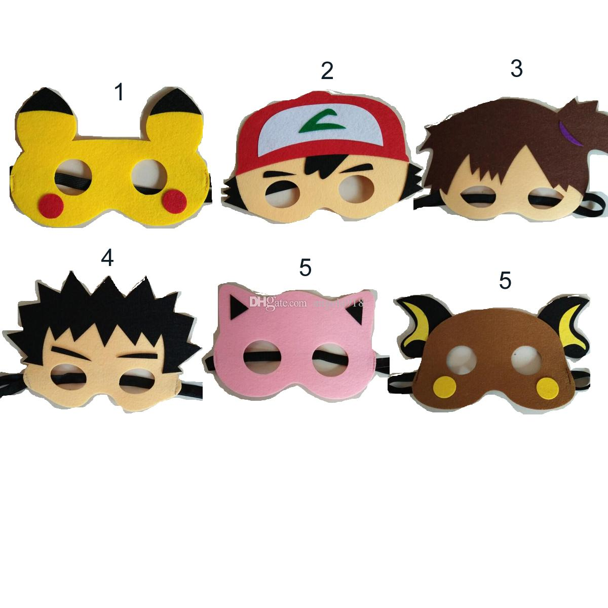2017 6 Style Poke Mask Cosplay Pikachu Mask Halloween Party ...