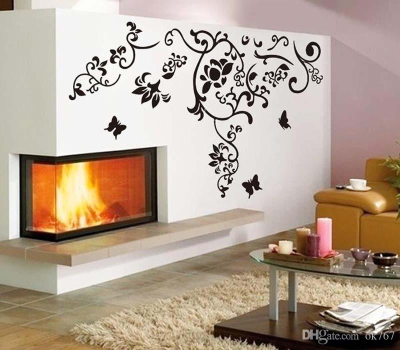 Salon chaud salon télévision arrière-plan romantique style amovible arte amovible art vigne fleur autocollants libres livraison gratuite