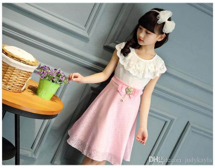 Nieuwe Hot Koop 2016 Zomer Grote Meisjes Mouwloze Prinses Jurk Mode Kinderen Kant Party Jurken Kinderkleding Leuke Meisje Rok 110-160cm