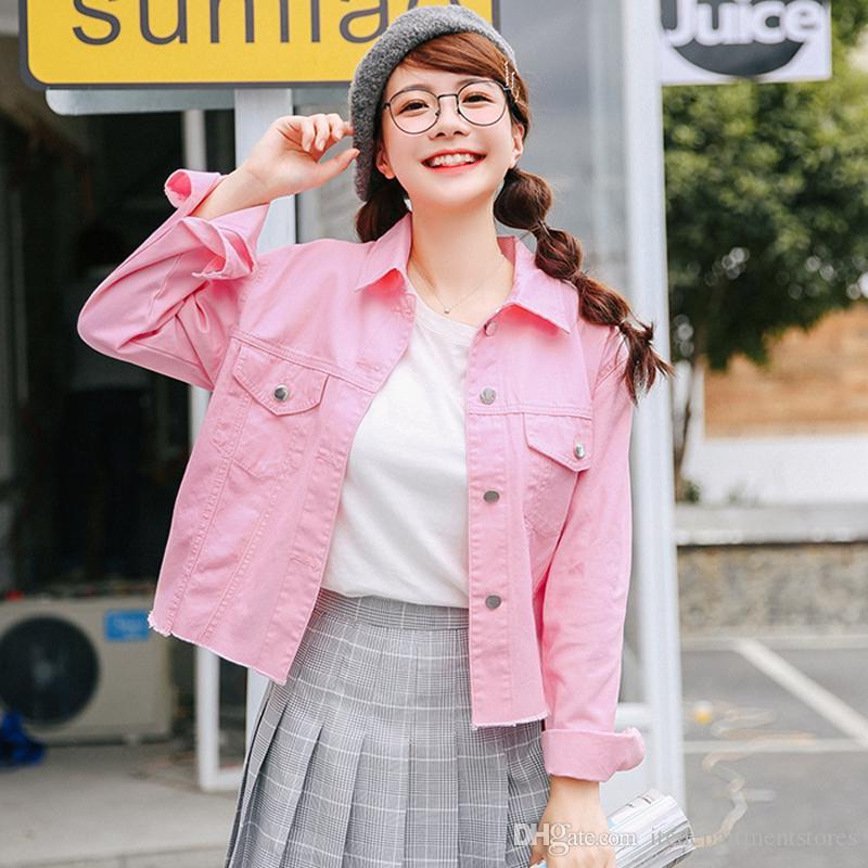 03bdc47367ea Compre Chaqueta De Color Rosa Mujeres Moda Turn Down Collar De Manga Larga  Chaquetas De Mezclilla Delgadas Otoño Abrigo Femenino 2017 Nueva Hermana  Suave ...