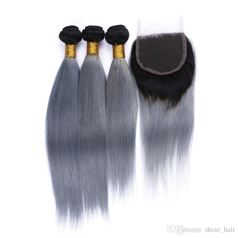 Perulu Gümüş Gri Ombre Saç Kapatma Ile 4 Adet 9A Sınıf 1B / Gri Ombre İnsan Saç ile 1 adet Düz 4x4 Dantel Kapatma