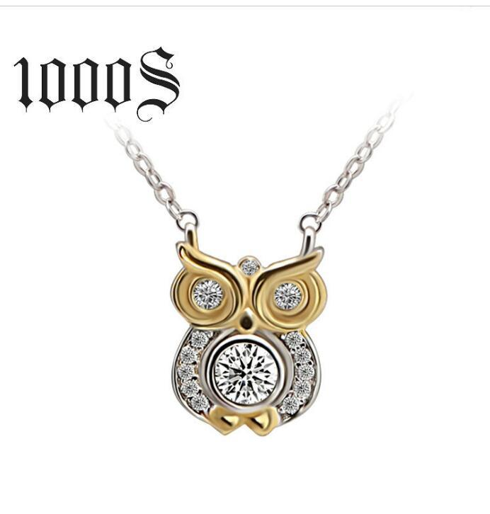 Bird of Wisdom 925 Sterling Silver Plated Owl Animal Charm Pendant Necklace with Crystal Diamond A Love Story That Never Ends Christmas Gift