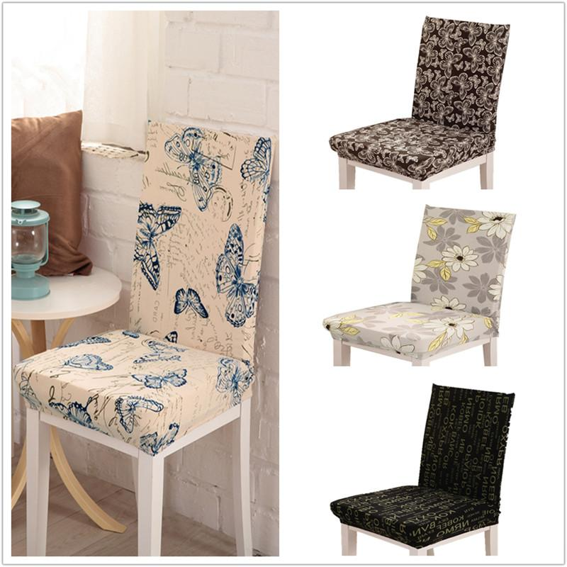 Butterfly Pattern Chair Covers Jacquard Stretch For Dining Room Decoration Short Half Machine Washable V55 Slipcover Couch Sofa Protector