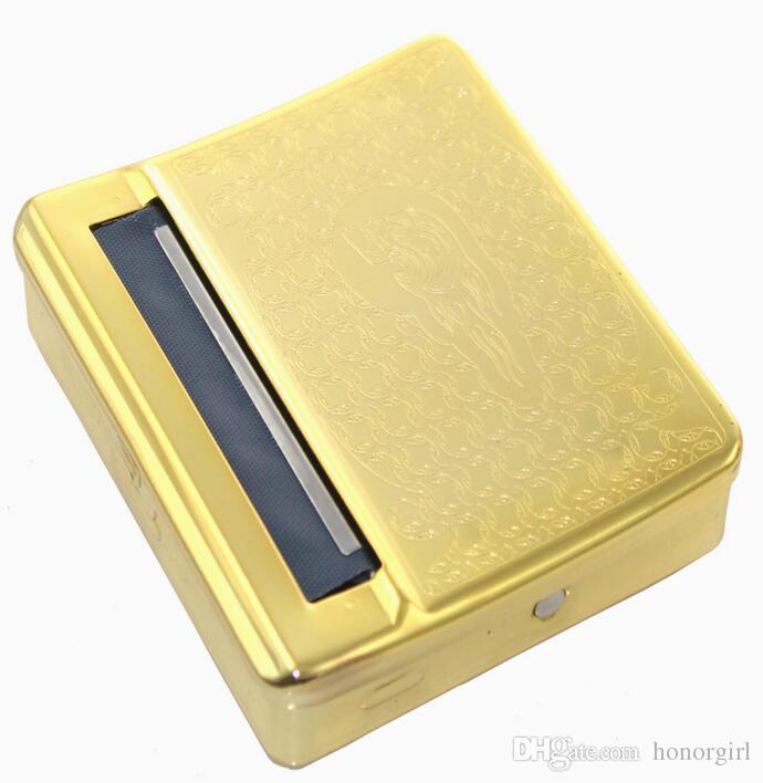new arrive golden Automatic Metal Cigarette Roller Tobacco Rolling Machine Cigarette Roller Box Case 70mm best quality