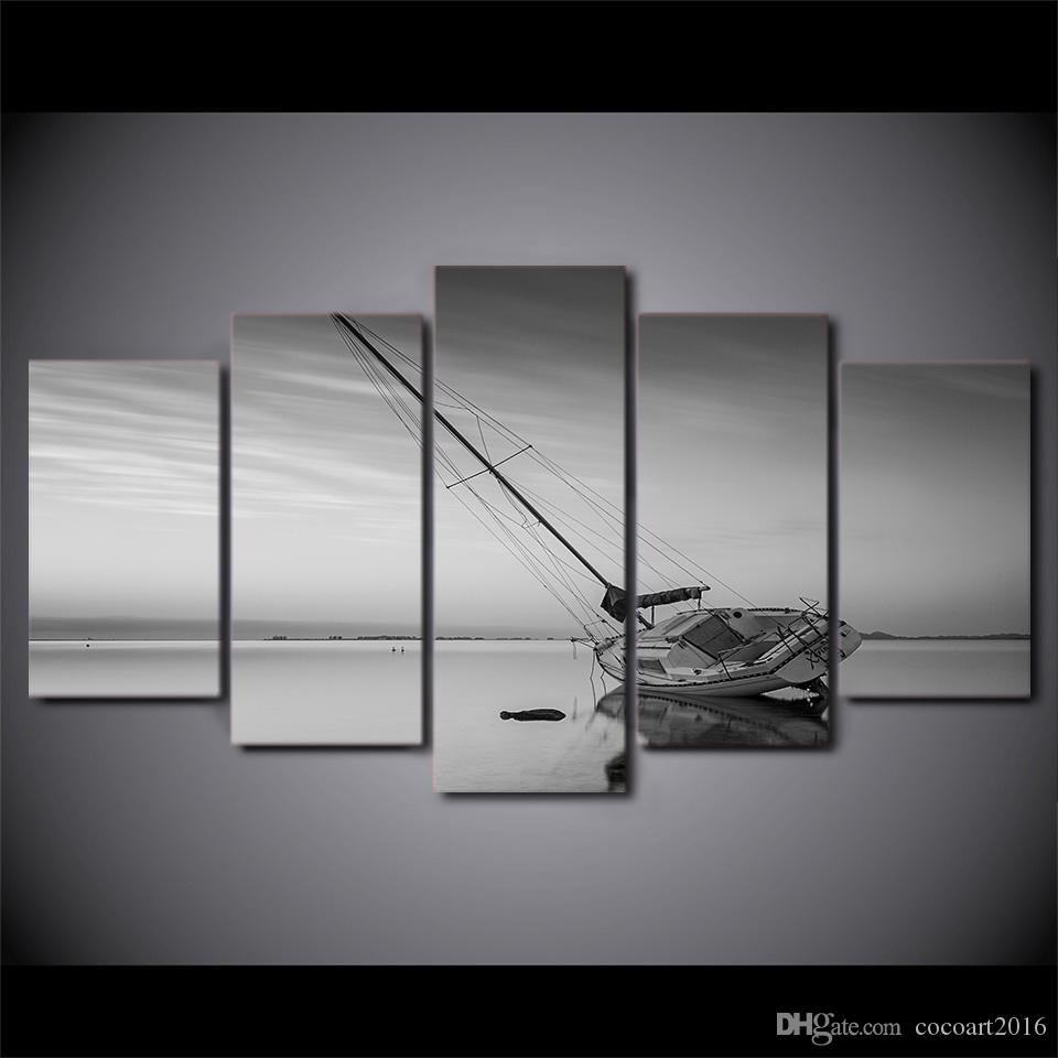 Framed HD Printed Calm Lake Sailing Boat Wall Canvas Art Modern Painting Poster Picture For Home Decor