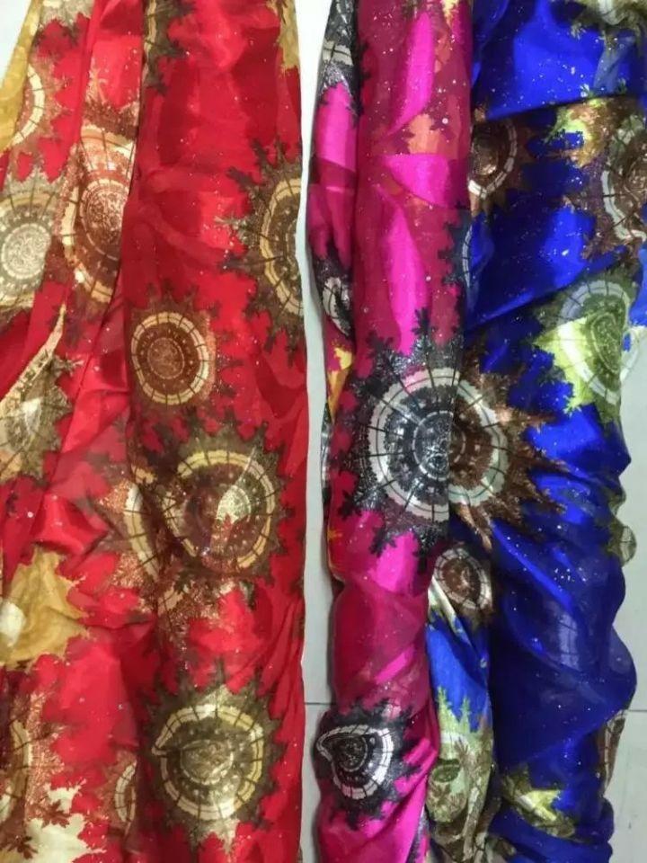 5 yards / pc belle dentelle en mousseline de soie bleu royal africain tissu de soie lisse et doux africain avec strass pour robe JS32-3