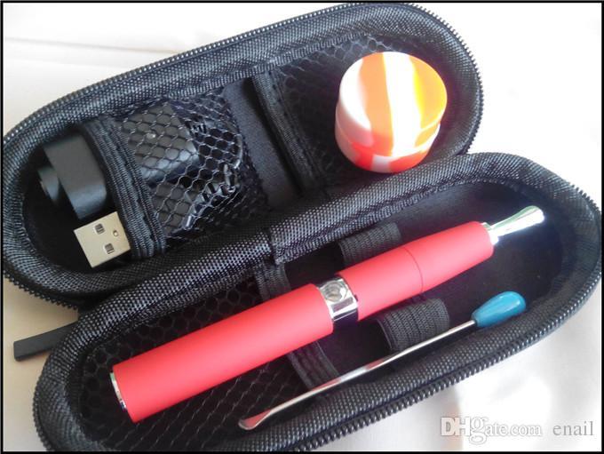 quartz dual coil wax e cigarette vaporizer pen micro skillet wax vape pen starter kit sticky wax oil concentrate e solid burning device