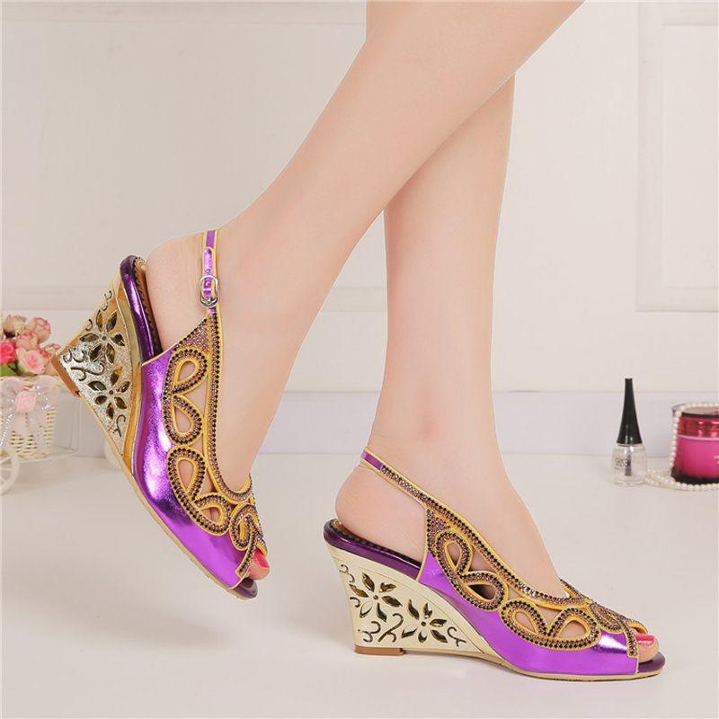 Purple Summer Sandal Wedge Heel Peep Toe Rhinestone Fashion Women Dress Shoes Slingback Nightclub Party Prom Shoes Wedding Pumps