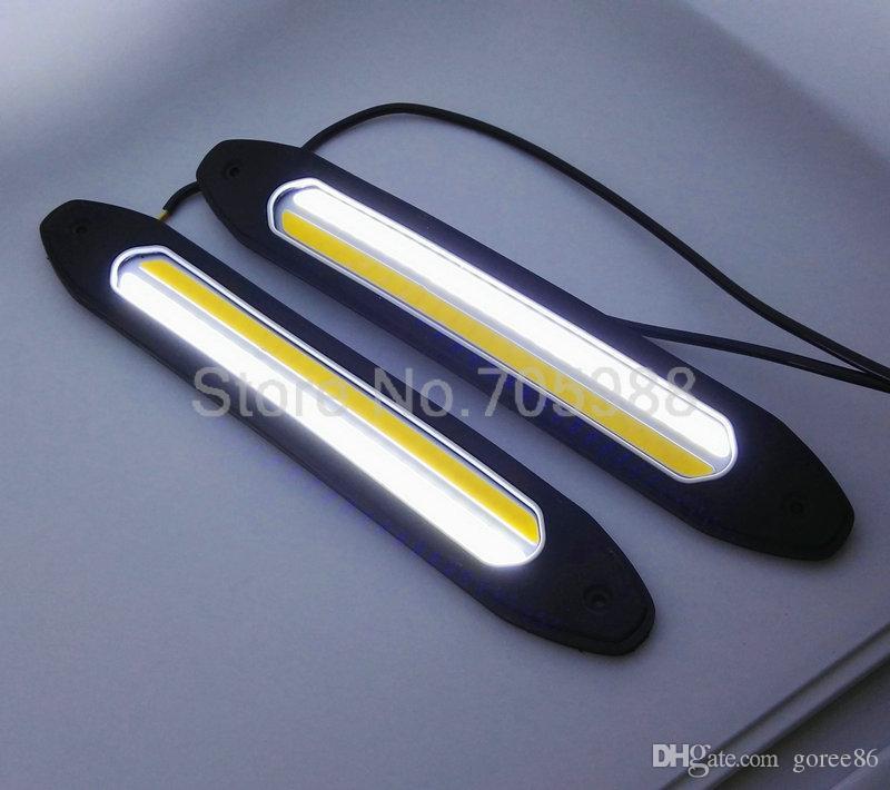 10W 100% impermeabile COB LED Luci di marcia diurna Segnale di svolta DRL Luce testa auto bianca / gialla