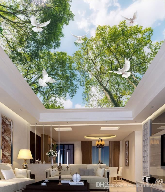 3D Landscape Ceiling Murals Wallpaper Forest Tree Top Blue Sky And White Clouds Bedroom 3d Ceiling