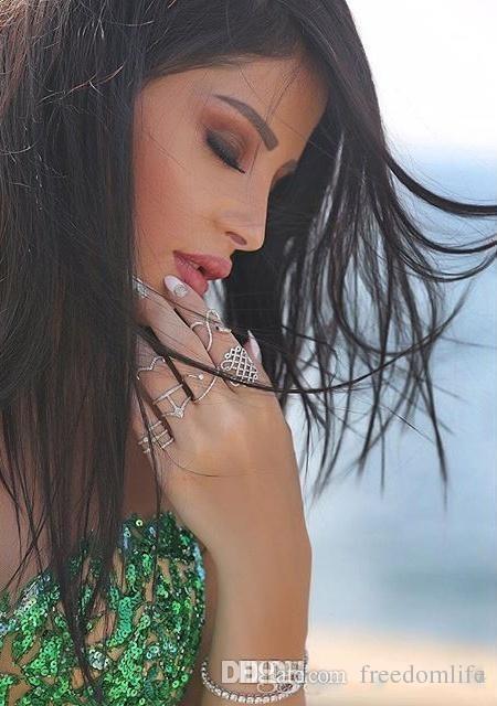 Estilo árabe Verde Esmeralda Sereia Vestidos de Noite Sexy Sheer Tripulação Pescoço Lantejoulas Mão Elegante Disse Mhamad Longos Vestidos de Baile Vest