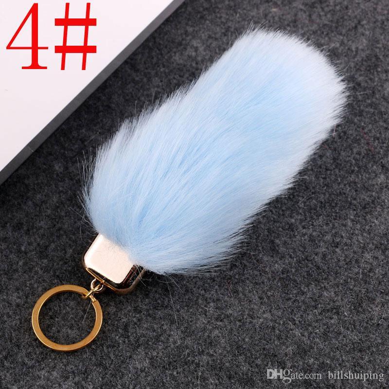 Sahte Kürk Anahtarlık Anahtarlık Biblo Severler Imitasyon Kürk Araba Çanta Anahtar yüzükler Pom Için ücretsiz kargo