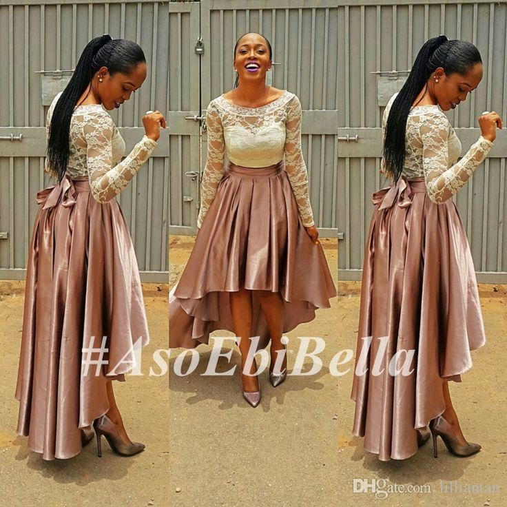 High Low Pink Prom Dress bella naija Bridesmaid Dresses Lace Top wedding guest Dresses Long Sleeve Plus Size Evening Gowns