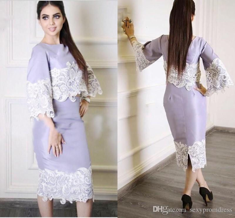 Arabic Duabai Two Pieces Prom Dresses 2017 Lavender Lace Applique 3 ...
