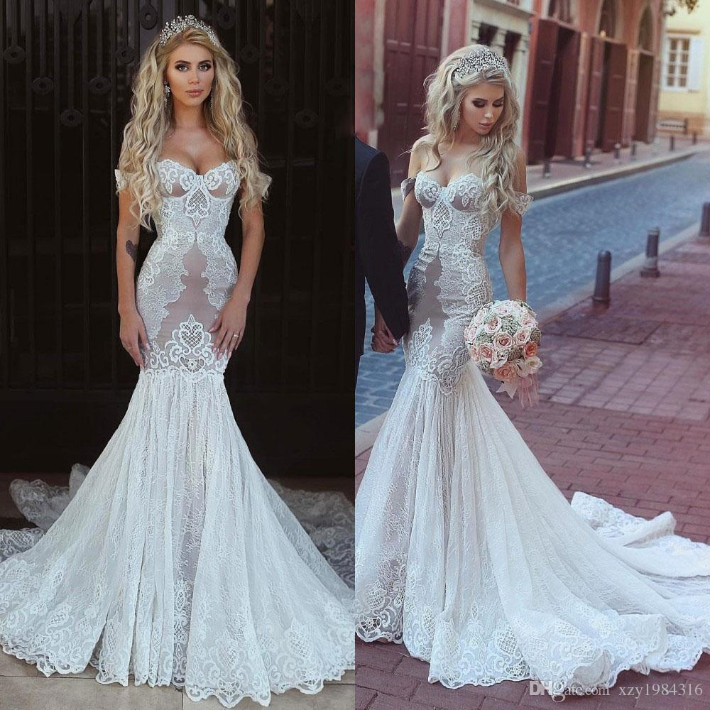 Stylish Lace Mermaid Wedding Gown Sexy Off Shoulder Sleeveless Applique  Lace Up Open Back Wedding Dress Custom Made Sweep Train Bridal Dress  Mermaid Wedding ... 450499d67020