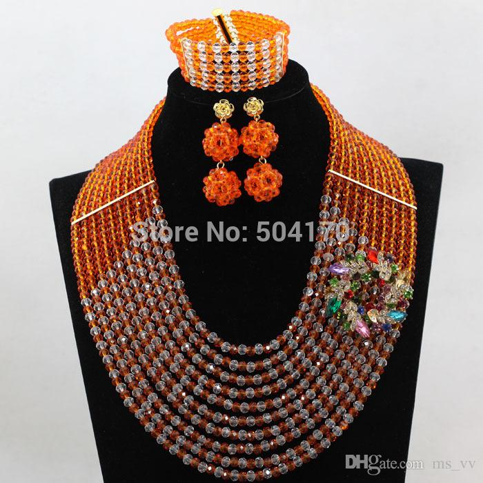 african beads jewelry set fashionable 10 rows orange white Dubai gold Nigerian Beads Necklace Earrings Bracelet Jewelry Set