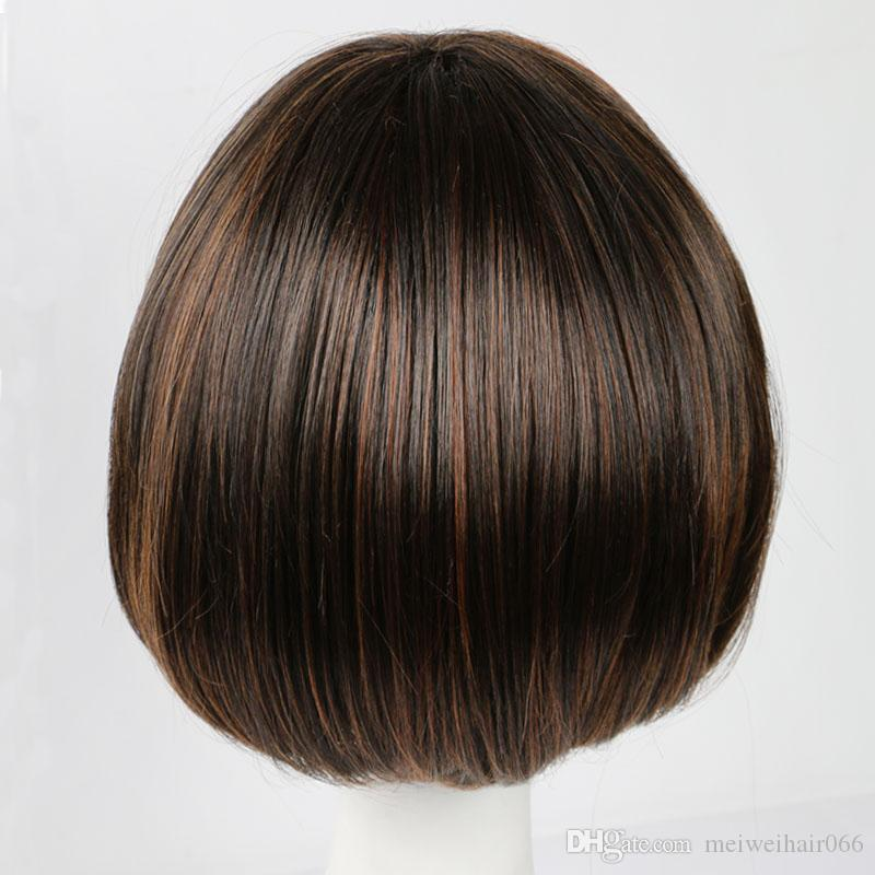 Women Fashion Short Straight Synthetic Hair Wig Brown Hair Full Wigs for Women Men Natural Style African American Wigs for Daily Llife