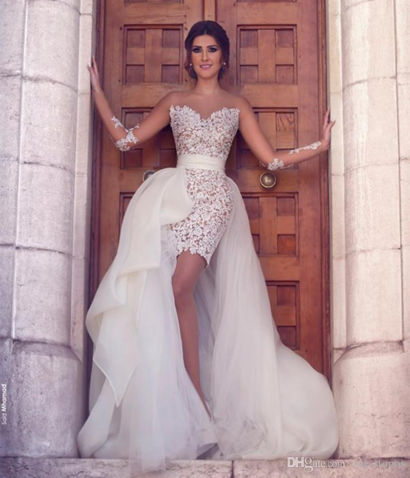 Cheap Tulle Detachable Train Wedding Dresses Bridal Gowns Sexy Sheer Long Sleeves Jewel Neck Vestidos Lace