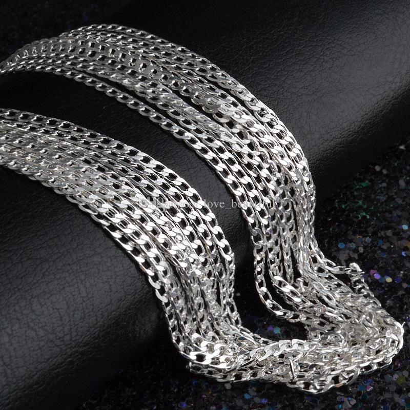 2016 neue 2 MM 16 '18' 20 '22' 24 '26' 28 '30' 925 Silber Kette Halskette Hohe Qualität mit freies verschiffen 50 teile / los