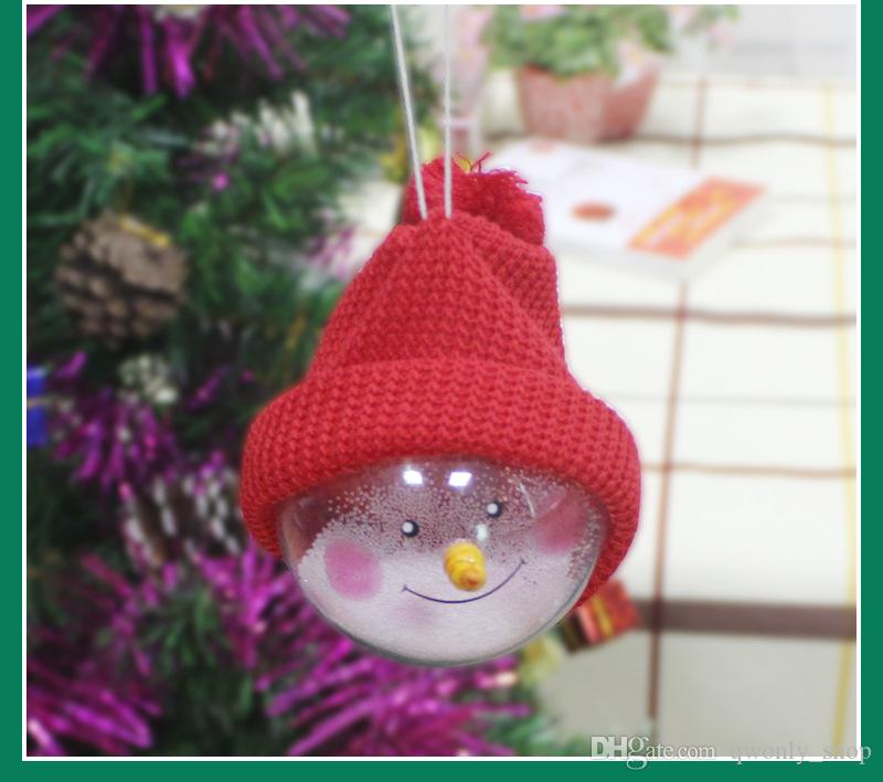 Snowman Crystal Clear Plastic Balls Hanging Christmas Wedding Birthday Party Decorations Festive Gift Christmas Tree Ornament