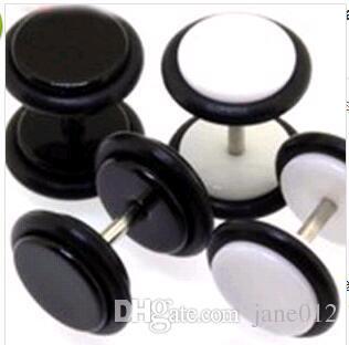 Круговой нержавеющей стали мужские серьги ювелирные изделия черный белый хип-хоп рок гантели женщины мужчины круглые серьги 8 цветов