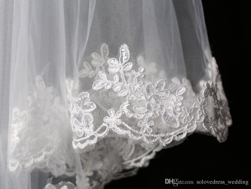 Blanc élégant / ivoire Deux couches Tulle Net Tulle Mariée Voile Veil de 1,5 m Longue Dentelle Veil tulle pour mariage Nouveau Livraison Gratuite SLV002