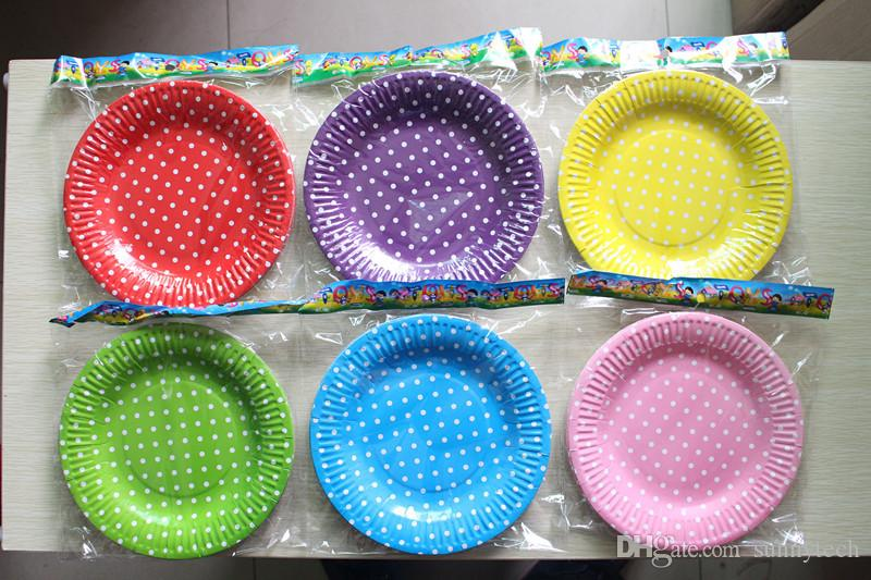 Polka Dot Paper Plates For BBQ Valentine Birthday Wedding Nursery Party Tableware Party Supplies WA1381