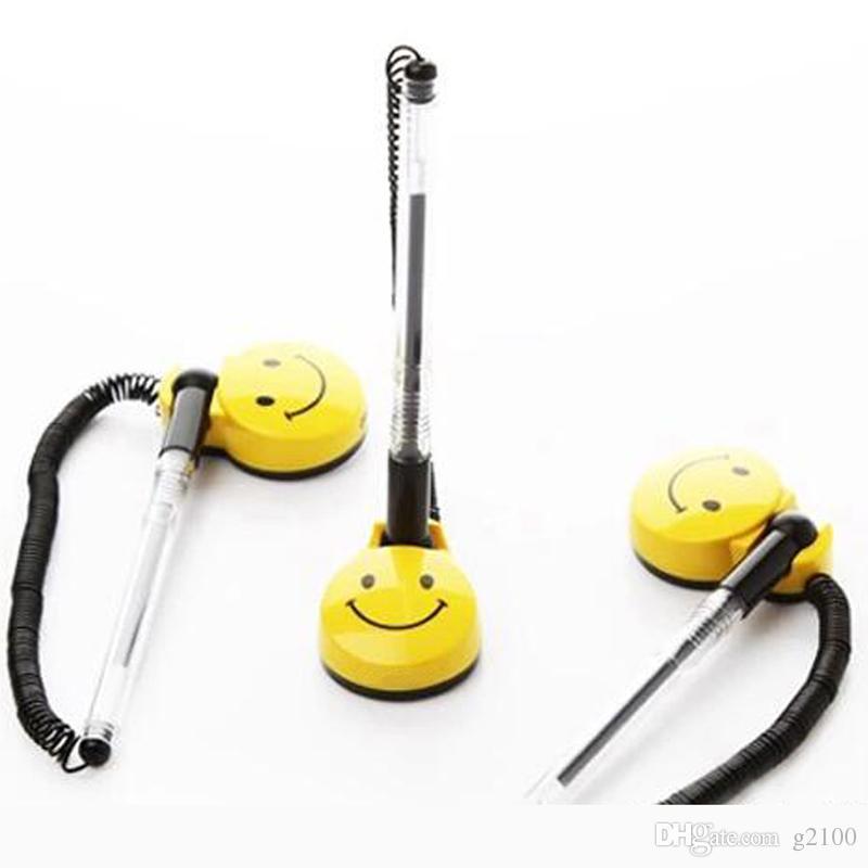 High Quality0.5mm Desktop Gel Pens Swivel Stand Smile Face Gel Pens Desk Office Front Desk Counter Pen Pasted Signing pen