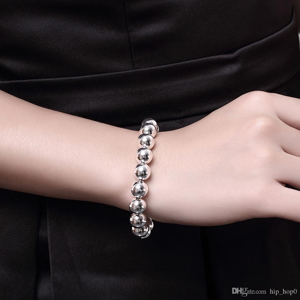 10 MM Perles De Prière Bracelet De Mode Creux Popcorn Brins Perlé-Argent Bracelet 8 pouces Chaîne En Gros Hommes Femmes Bijoux De Noël Cadeaux