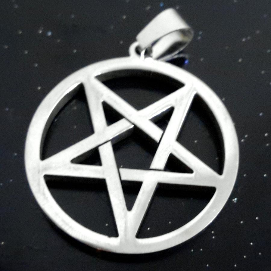 Wicca Inverted Pentagram 스테인레스 스틸은 펜던트와 24