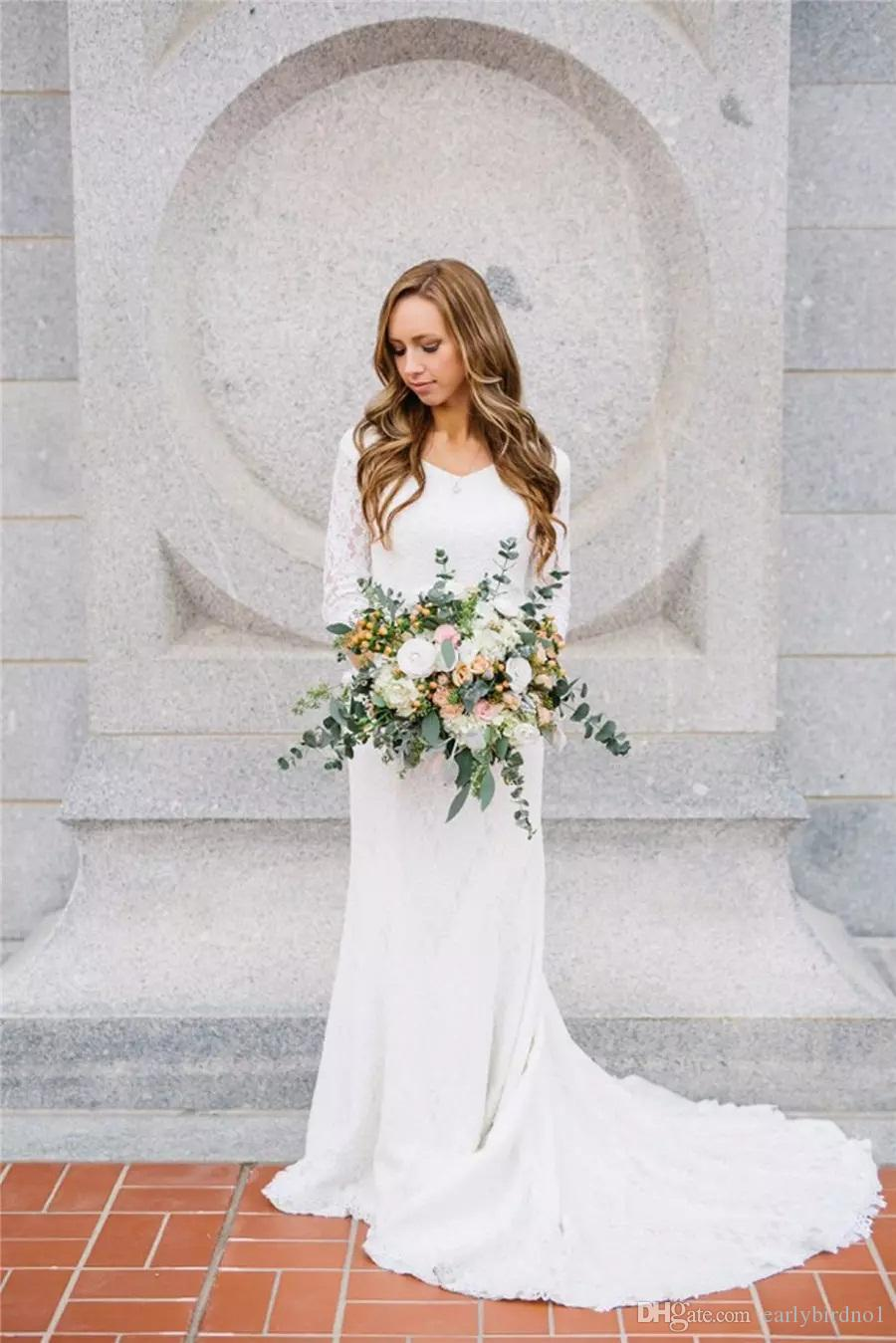 2018 nieuwe vintage bescheiden trouwjurken met lange mouwen Boheemse kant chiffon bruidsjurken land trouwjurk