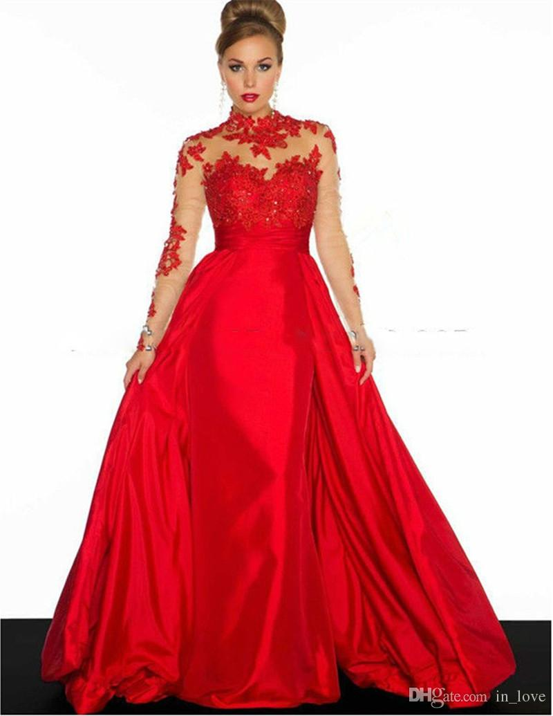 2017 A Line Evening Dresses Red Latest Design Long Formal Gowns Robe ...