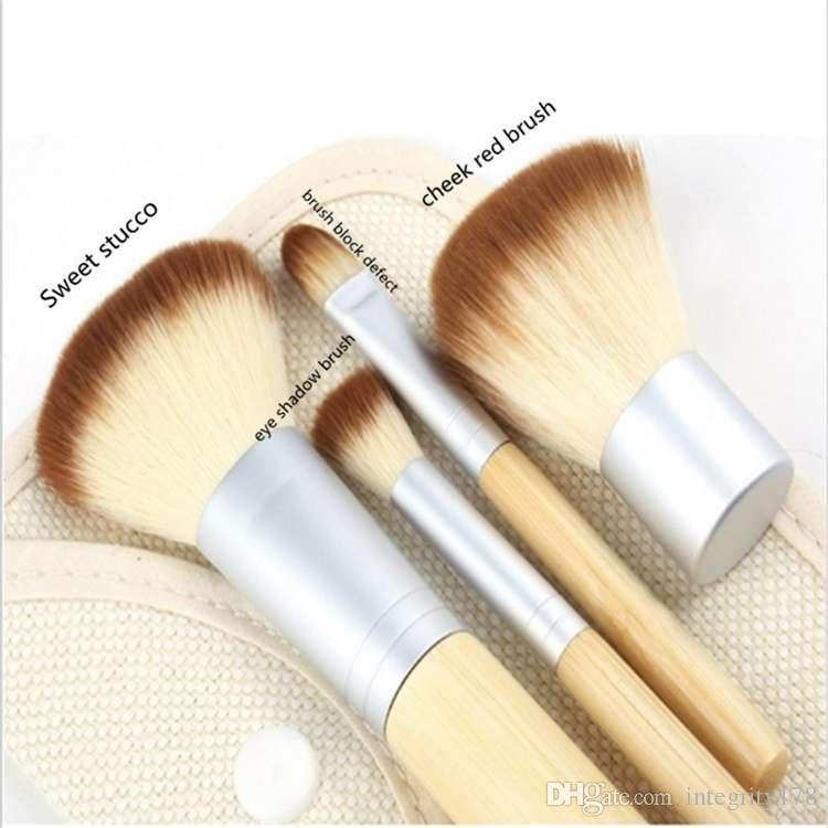 1 Unidades / 4 Unids Fundación Profesional Maquillaje Pinceles de Bambú Kabuki Pincel de Maquillaje Cosmético Kit Kit Herramientas Sombra de Ojos Cepillo Rubor qp