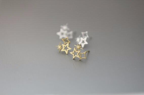 Mode féminine de 18 k plaqué or triple étoile boucles d'oreilles en argent bijoux en gros livraison gratuite