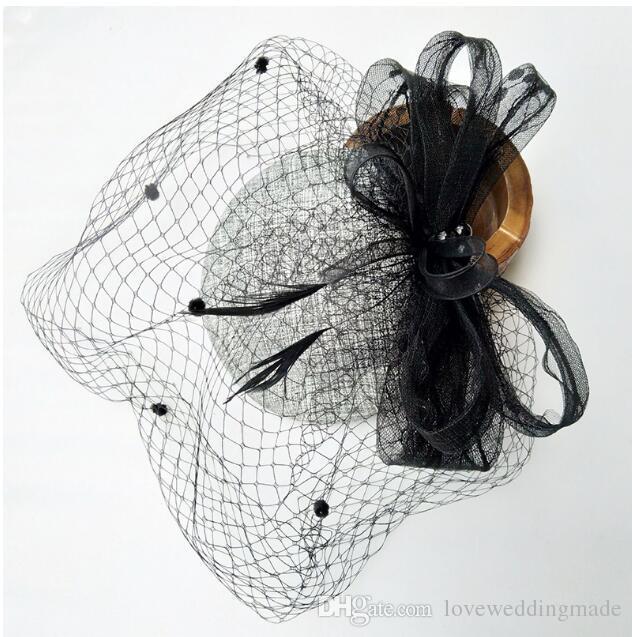 2017 rétro noblesse mariée noire chapeau papillon noeud fil voile petit chapeau facecover robe de soirée accessoires de mariage