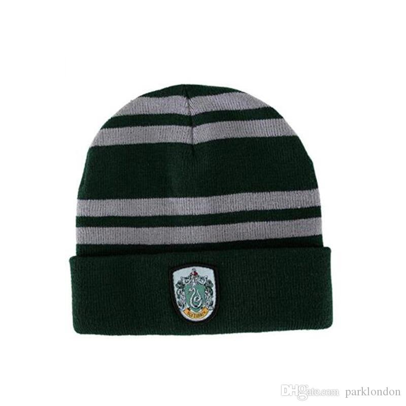 Quality Harry Potter Beanie Gryffindor Slytherin Skull Caps Hufflepuff Ravenclaw Cosplay Costume Caps Striped School Winter Fashion