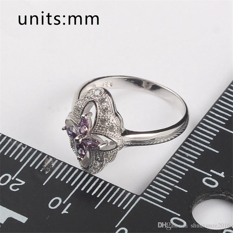 Shunxunze 925 prata esterlina para mulheres e homens anéis de noivado luz de casamento roxo Zircônia favorita Rave Revisão Noble generoso S-3709