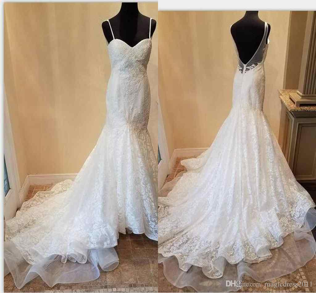 d51fc6a769e 2018 Castle Simply Elegant Wedding Dresses Mermaid Spaghetti Strap Backless  Sleeveless Sweep Train Lace Sexy Back Bridal Gowns Wedding Dress With Lace  ...