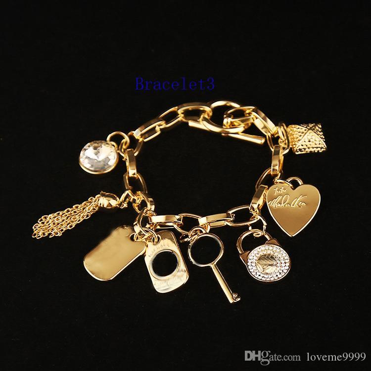 Высокое качество жемчуг замок брелки браслеты круглый ключ любовь Кристалл подвески браслет ювелирных изделий серебряный золотой цвет для мужчин женщин мода ювелирные изделия