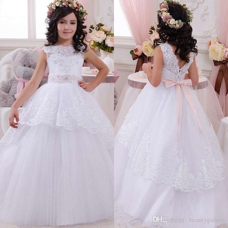 045e0fe9a15 Most Lovely Appliques White Ball Gown Flower Girl Dresses Hot Sale  Beautiful Lace Appliques Floor Length First Communion Dress For Girls  Expensive Flower ...