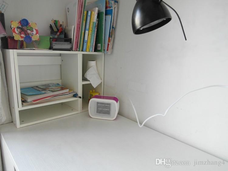 MinF01-2, envío gratis, PTC Calentador de espacio de cerámica Eléctrico 220 V 500 W Invierno cálido Mini Calentador de ventilador de escritorio Aplicación doméstica forzada, con enchufe de la UE