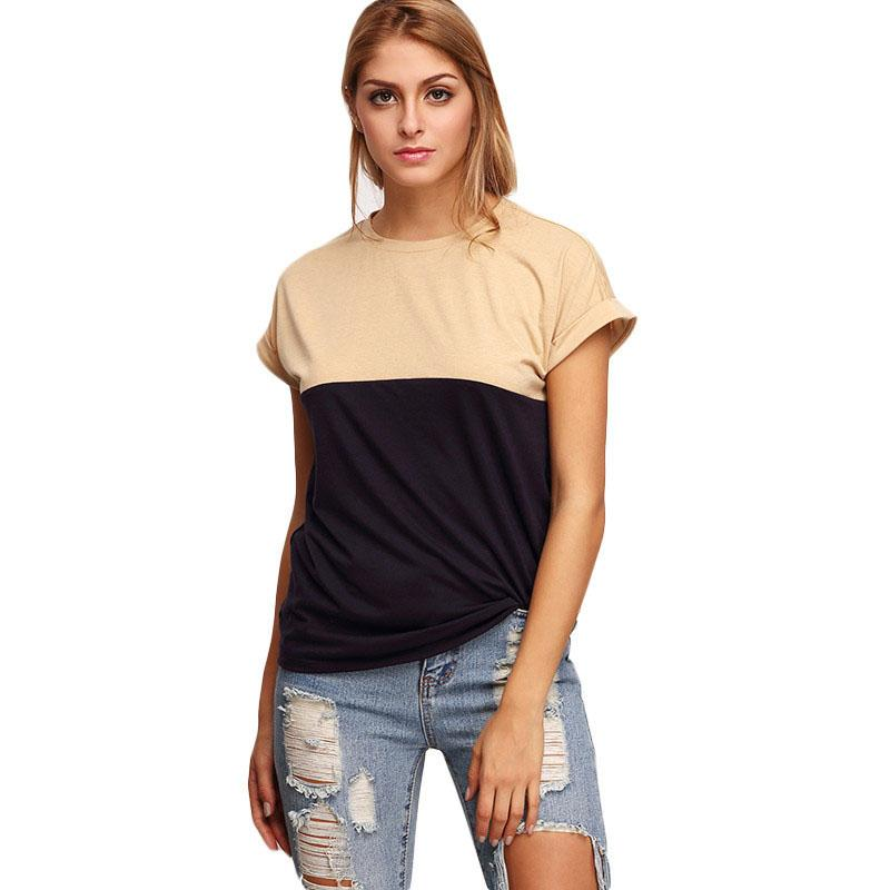 Womens Fashion Brand Street Style Tops Latest Royal Blue Crew Neck Roll-up Sleeve Color Block T-shirt