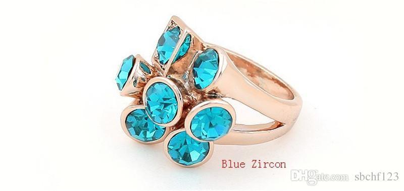 Alyans Alyans Yüksek Kalite Gül Altın Kaplama Swarovski Elements Kristal Yüzükler Kadınlar Moda Takı 4171 Ile Yapılan