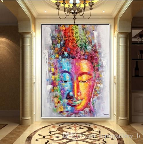 2018 Framed 100% Hand Painted Asian Buddhist Art Oil Painting Buddha ...