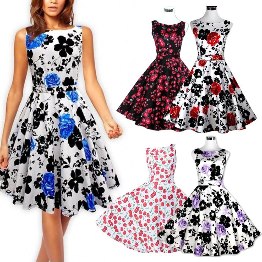 b9791653de61b New Women Summer Floral Print Retro Vintage 50s 60s Casual Party Rockabilly  Pinup Dresses Ladies Swing Elegant Dresses Party Clubwear dress
