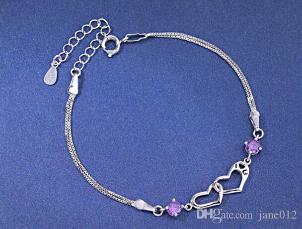 Korean Bracelet 925 sterling silver double heart i love you Crystals Silver Jewelry Chains Bracelets 925 stamp