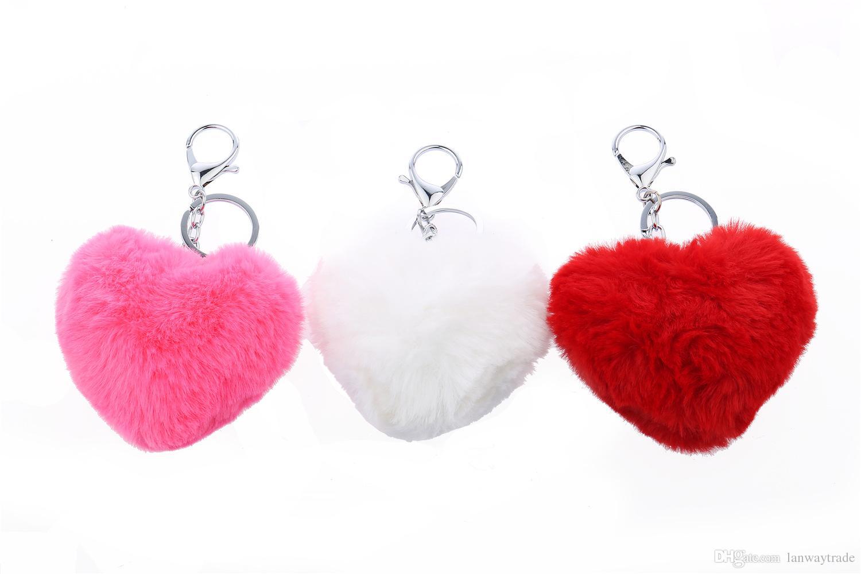 Lanway Popular Key chain Rabbit Fur Ball Key Rings Gift Genuine Rabbit Fur Bag Pendant Phone Tassel Fur Pompom Accessory Heart Shaped