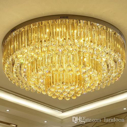 Dimmable Led Chandeliers Ceiling Installation Led Round European - Yellow chandelier crystals