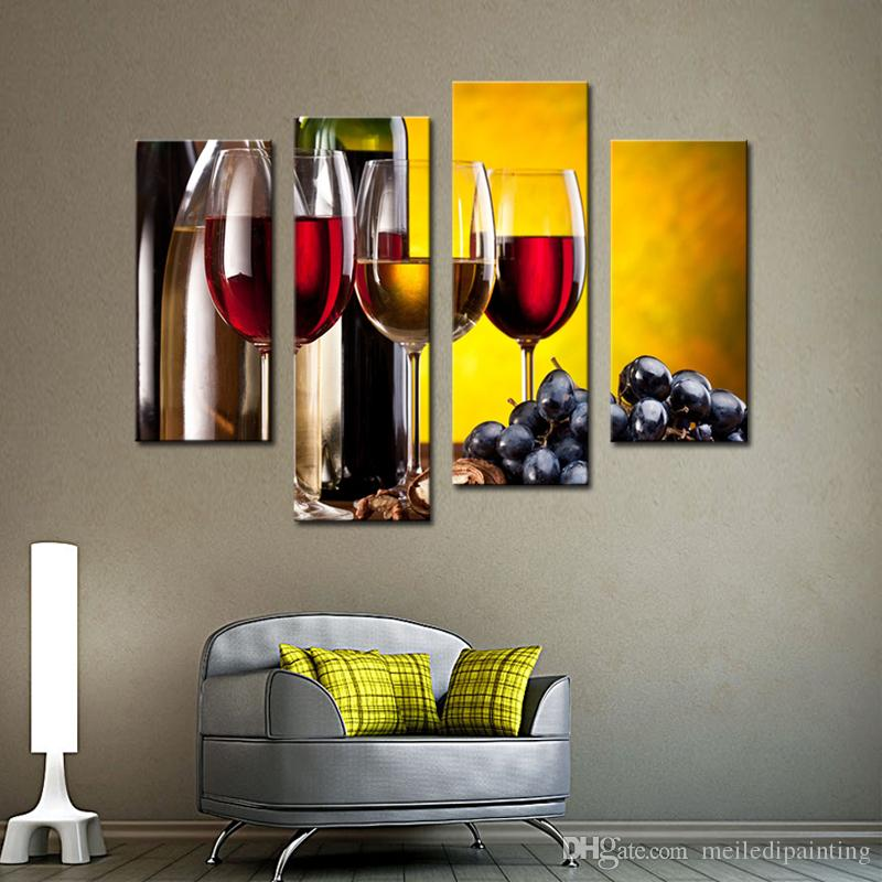 Amosi Art-Grape Wine With Cup Wall Art Painting The Picture Print On Canvas Food Pictures For Home Decoration GiftWooden Framed