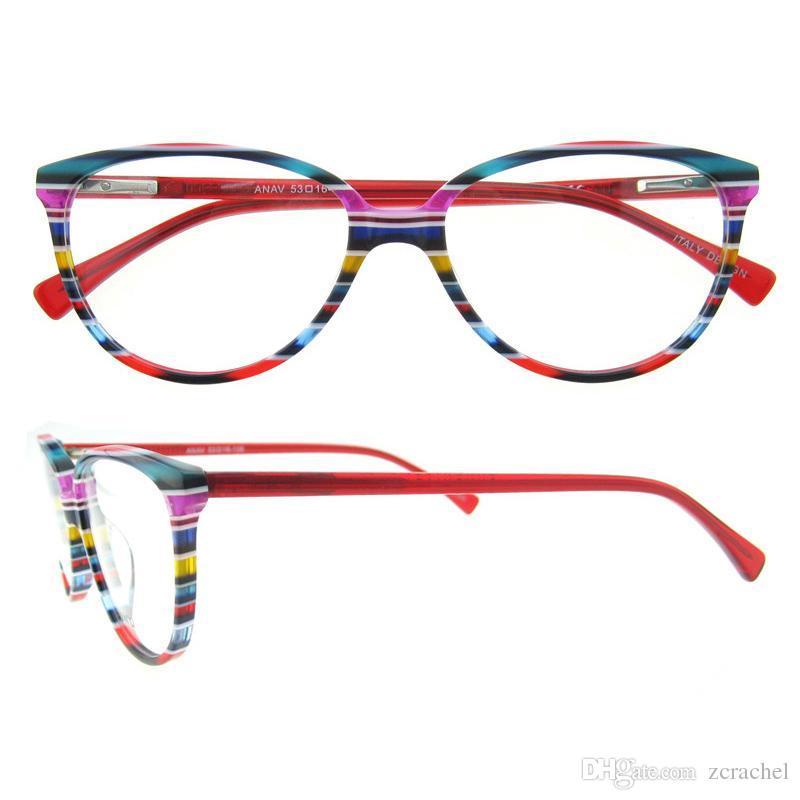 Blue Red Brown Strips Rainbow Series Oval Full Rim Unisex Italian ...